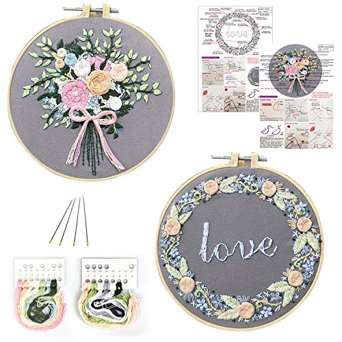 O'woda 2 Pack Embroidery Starter Kit with Pattern, 2 PCS Embroidery Cloth with Pattern, 1 Embroidery Hoop, Color Threads Tools Kit,for DIY Decor Living Room (Garland)