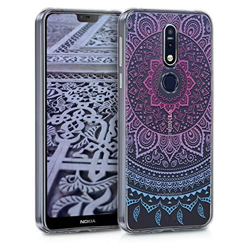 kwmobile Hülle kompatibel mit Nokia 7.1 (2018) - Hülle Handy - Handyhülle - Indische Sonne Blau Pink Transparent