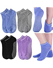 KaiYunSheng Siliconen Dot Grip Sokken Pilates Yoga Sokken Pack van 4 Womens antislip antislip Fitness/Dance Barre/Ballet/Zwangerschaps Grip Sokken met Gripper Katoen