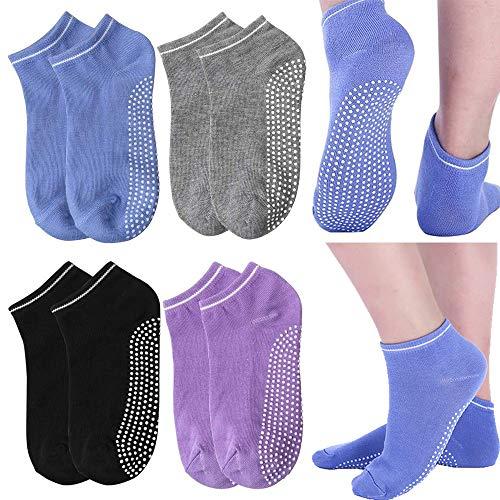 KaiYunSheng Antideslizantes Calcetines Pilates Yoga 4 Par Calcetines de Deporte Traspirable Mujer para Yoga Pilates Barra Ballet Danza Fitness Algodon