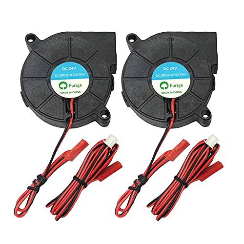 Furiga 24V 5015 Blower Fan DC 50X50X15mm Radial Cooling Fan 1.2M Cable for 3D Printer Fan Heat Sink 2PCS
