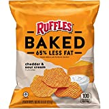 Ruffles Oven Baked Potato Chips, Cheddar and Sour Cream Flavored, 0.8 Ounce (Pack of 60)
