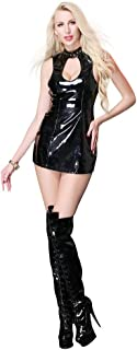ZGDGG Women's Mini Skirt Latex Dress Porn Adult Wetlook Black Stretch Party Dress Patent Leather