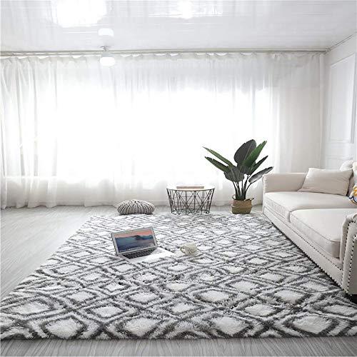 Modern luxuriöser Indoor Plüsch Flauschiger Bereich Teppich, extra weiche und bequeme Samt SHAG Teppichboden, geometrische marokkanische Teppiche für Schlafzimmer Wohnzimmer Teppich-Q 24x63inch (60x16