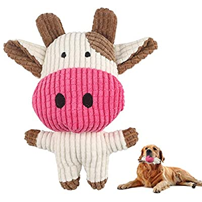 Elezenioc Plush Dog Toys for Puppy, Durable Squeaky Dogs Stuffed Animals Toy with Cotton Material, Interactive Puzzle Dog Toys for Small Pet to Cleaning Teeth (Brown Cow)