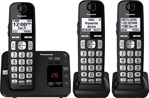 Panasonic KX-TGE433B Cordless Phone with Answering System - 3 Handsets