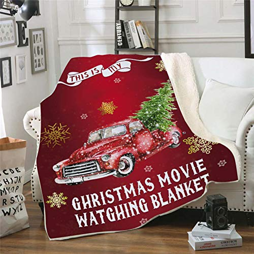 Valcatch This is My Christmas Movie Watching Blanket Quilts, Soft Cozy Warm Plush Throws for Adults Kids 59in x 79in (A7)