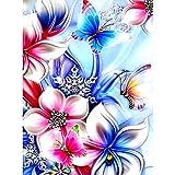 MXJSUA 5D Cuadrado Completo Diamante Pintura DIY Kit de Taladro de Diamantes de imitación Imagen Arte artesanía para decoración de la Pared del hogar 30x40cm Flor Mariposa