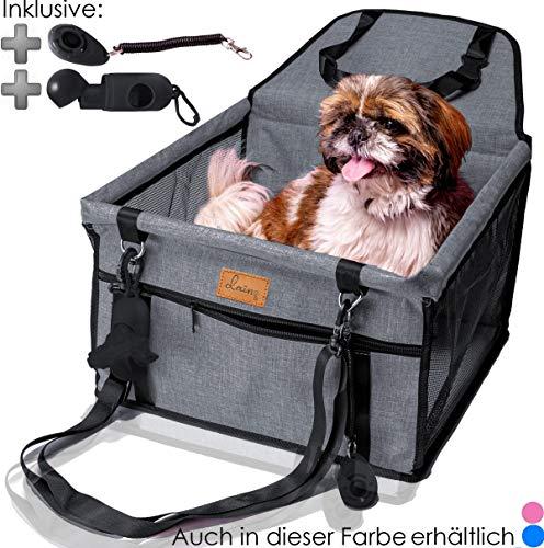 dainz Hundesitz fürs Auto - Beifahrersitz für kleine und mittlere Hunde oder Welpen - stabil, wasserfest, faltbar - Autositz Hund mit Gurt - Hunde Autositz - Hundesitz Auto Rückbank - Hundekörbe