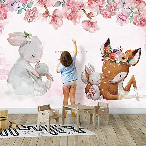VGFGI Moderno 3D autoadhesivo PVC moderno habitación para niños pared de animales dibujos animados flor alce conejo habitación para niños pegatina impermeable póster