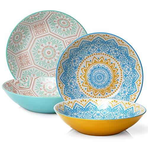 ZONESUM 9 Pasta Bowls - 40 oz Large Serving Bowls Salad Bowls Set of 4 Ceramic Shallow Bowl Soup Plates for Pasta Salad Soup Microwave Dishwasher Safe Vibrant Color