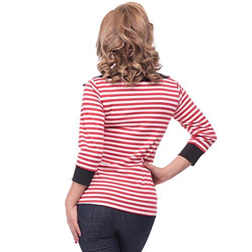 Steady Clothing Damen Retro Bluse mit Schleife – Striped Boatneck Rockabilly Oberteil 3/4 Arm Rot M - 4