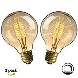 Ampoule E27 Vintage,Fil Lampe Rétro Antique 220-240V Grosse Ampoule 40W Edison Globe G80 Ampoule Filament Blanc Chaud 2 Pack