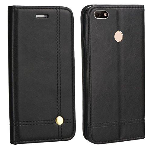MOELECTRONIX Edle Buch Klapp Tasche SCHWARZ Flip Book Case Schutz Hülle Etui passend für Huawei Y6 Pro 2017 Dual SIM SLA-L22