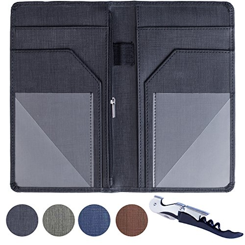 "Server Book for Waiters Organizer – 5"" x 9"" Size – Restaurant Staff Waitress Money Check Holder and Server Wallet – with Zipper Cash Pocket, Wine Opener and Pen Holder (Black)"