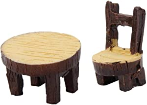 Niocaa Miniature Table and Chairs Set, Wooden Fairy Garden Furniture Ornaments Dollhouse Resin Fairy Table Chair for Dollhouse Accessories Home Micro Landscape Decoration