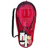 WILSON WRT214000 Kit de Démarrage pour Enfants Tennis Rouge/Noir 9-10 ans