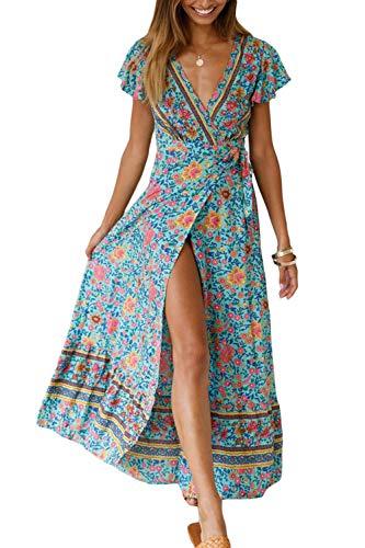 Vestido Mujer Bohemio Largo Verano Playa Fiesta Floral Manga Corta Cue