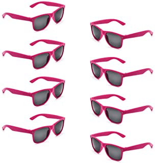 Neon Colors Party Favor Supplies Unisex Sunglasses Pack of 8 for Kids (8 Pack Hot Pink)