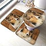 Juego de 3 alfombras de baño para asiento de inodoro, hermosa cabaña perro en forma de U, alfombrilla de pedestal y tapa de inodoro