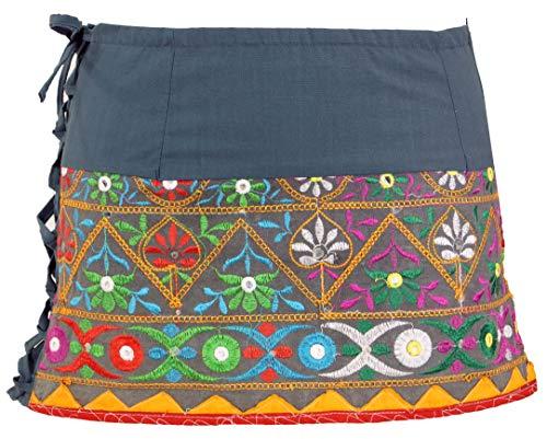 GURU SHOP Ethno - Minifalda bordada para mujer, de algodón, con cintura gris S