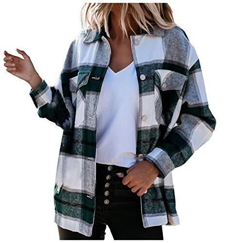 Dasongff Blusa de manga larga con bolsillos a cuadros y botones para mujer, de gran tamaño, abrigo, camisa,...