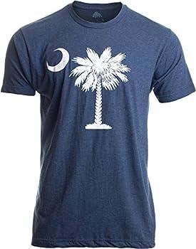 South Carolina Flag   Palmetto Moon Carolinian SC Charleston Men Women T-Shirt- Adult,L  Vintage Blue