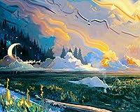 番号による絵画Diyビッグサイズの風景アートムーングラスカラフルなキャンバス部屋の装飾アート画像子供ギフト番号によるペイント大人のためのキットカラー原稿 カスタマイズ可能 40x50cmフレームなし