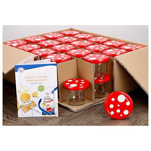 MamboCat 40er Set Sturzgläser 230 ml mit Fliegenpilz rot weiß Gepunkteter Deckel to 82 inkl. Diamant Gelierzauber Rezeptheft Marmeladengläser Einmachgläser Einweckgläser