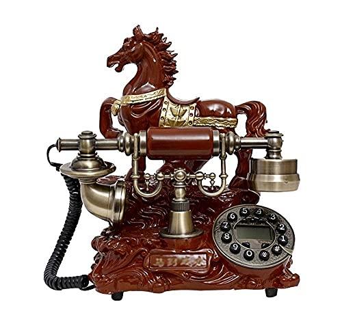 FHISD Teléfono Antiguo, teléfono Fijo, teléfono Antiguo, pulsador de línea Fija, teléfono Retro con Timbre de Campana de Metal clásico, decoración del hogar, 245 * 160 * 190 mm, teléfono Fijo Rojo