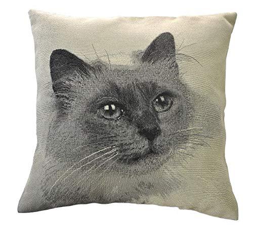 Espamira Kissenhülle Grau Schwarz Katze 40x40 cm Dekokissen Sofakissen Kissenbezug 80% Polyester, 20% Baumwolle