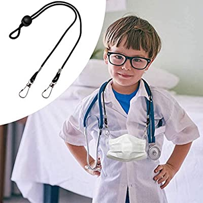 Lanyard for Face_Mask, Adjustable Length Mouth Covering Straps Lanyards, Easy Clip Comfortable Wear Fit for Adults and Kids, Bulk Packs Masc Holders Extender Ear-Savor, Double Cilps Design (C, 10pc)