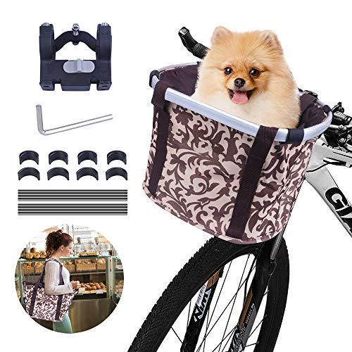 Faltbar Fahrrad vorne Korb, Fahrradkorb vorne, mit Lenkeradapter, Einkaufstasche mit Bequemen Schultergurten, Easy Install Abnehmbare Lenkerkorb Tasche für Kleiner-Hunde/Katzen-Einkaufen-Picknick