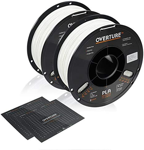 OVERTURE PLA Filament 1 75mm with 3D Build Surface 200mm x 200mm 2kg PLA Multipack 2 2lbs Spool product image
