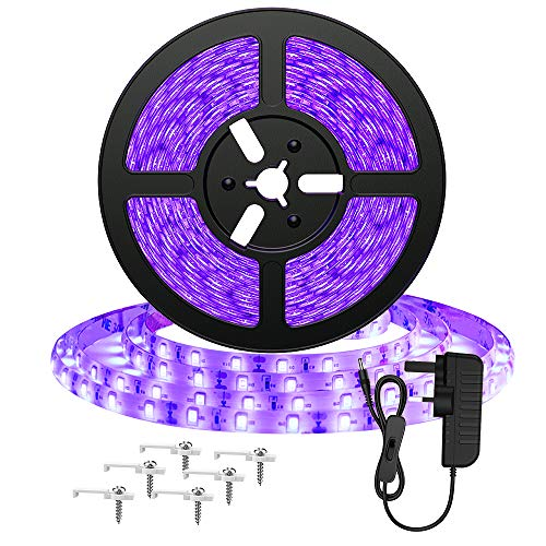 Onforu 5m LED UV Blacklight Strip Kit, 12V 24W Flexible Black Light, 16.4ft Fixtures with GS Adapter, 300 UV LED Lamp Beads, Non-Waterproof for Indoor Fluorescent Dance Party, Body Paint