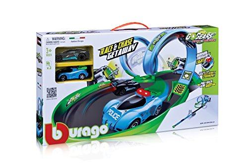 BURAGO Circuit de Course Race et Chase + 2 Voitures Rétrofriction