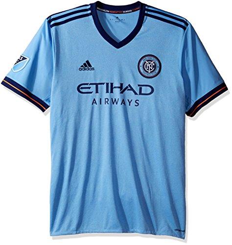 adidas Camiseta con logotipo de equipo, réplica - 7417A, Large, Azul claro