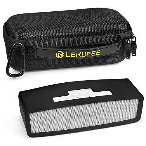LEKUFEE Portabler Reisekoffer für Bose SoundLink Mini/Mini II Bluetooth Lautsprecher mit schwarzem Weiche Abdeckung