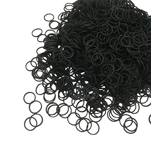 Mini Rubber Bands, Soft Elastic Bands, Premium Small Tiny Black Rubber Bands for Kids Hair, Braids Hair, Wedding Hairstyle (1000 Pieces, Black)