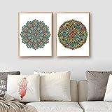 QZHSCYB Mandala Imprime Elementos Decorativos Vintage Carteles de Flores Coloridas Arte Lienzo Pintura Cuadros de Pared para la decoración del hogar de la Sala de Estar -40x60cmx2 (sin Marco)