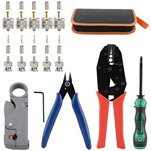 NiceDD - Juego de herramientas de engaste para cables coaxiales con pelacables BNC/UHF, conectores macho, cortador de alambre y destornillador para conectores coaxiales