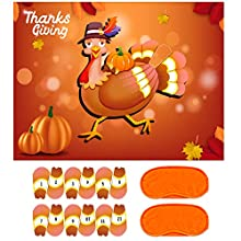 """❤️【Pin The Tail on The Turkey Game Set Includes】: 1PCS 26.5"""" x 20"""" large turkey poster, 2PCS blindfolds, 24PCS vinyl turkey tails , 4PCS free double-sided adhesive. ❤️【Funny Thanksgiving Party Activities】: Pin the tail on the turkey game is great for..."""
