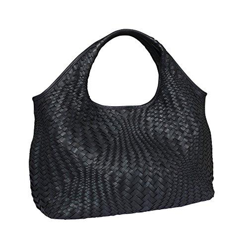 Paolo Masi optische Gewebe gewaschen italienischen Leder Hobo Handtasche Schultertasche (schwarz)
