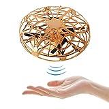 TiKiNi UFO Mini drone, mano RC cuadricóptero infrarrojo inducción 360° luces LED giratorias 5 sensores de movimiento 2 velocidades para niños niñas regalos de Navidad cumpleaños