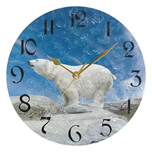 ART VVIES Reloj de Pared Redondo de 10 Pulgadas, sin tictac, Puntero Dorado silencioso, Funciona con Pilas, Oficina, Cocina, Dormitorio, decoración del hogar, Retrato de Oso Polar