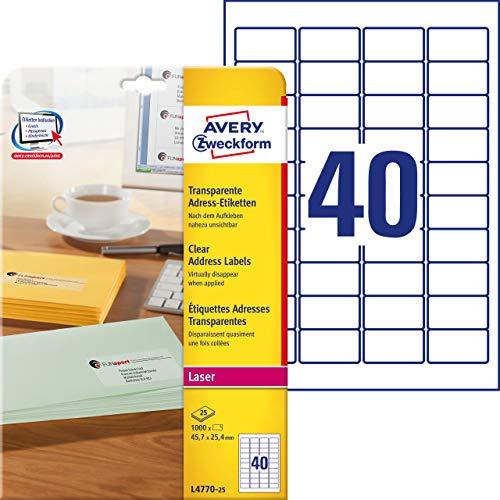 AVERY Zweckform L4770-25 Adressetiketten/ Adressaufkleber (45,7x25,4mm auf DIN A4, bedruckbar, selbstklebend, für C6 Briefkuverts + Deutsche Post INTERNETMARKE, 1.000 Etiketten, 25 Blatt) transparent