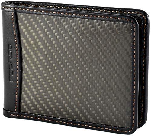 Portefeuille minimaliste fin en fibre de carbone pour homme avec sangle porte-monnaie et poche avant bloquant RFID taille unique, noir