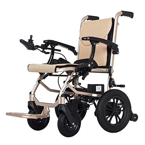 ZZUU Rollstuhl elektrisch faltbar Mit herausnehmbarem Lithium Akku/Doppelte einstellbare Steuerung,A