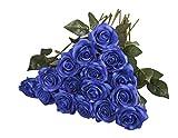 10 Pièces Fleurs artificielles de Bouquets Rose Fleur de simulation de Décoration pour Maison Mariage 10Bleu