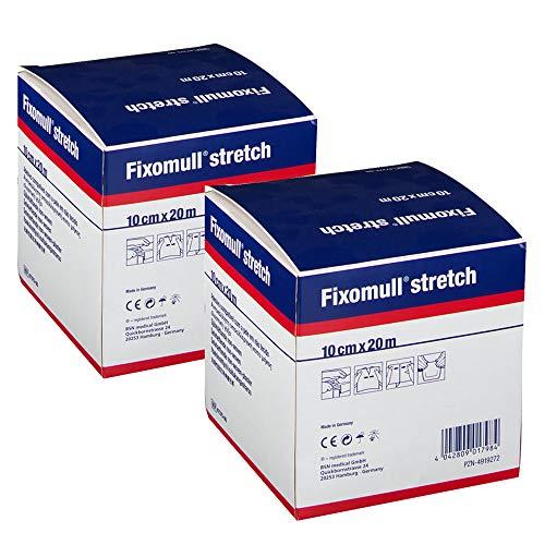 Sparset - 2x Fixomull stretch Verbandfixierung 20m x 10cm im Doppelpack | Rollenpflaster, Fixierpflaster, Polyestervlies